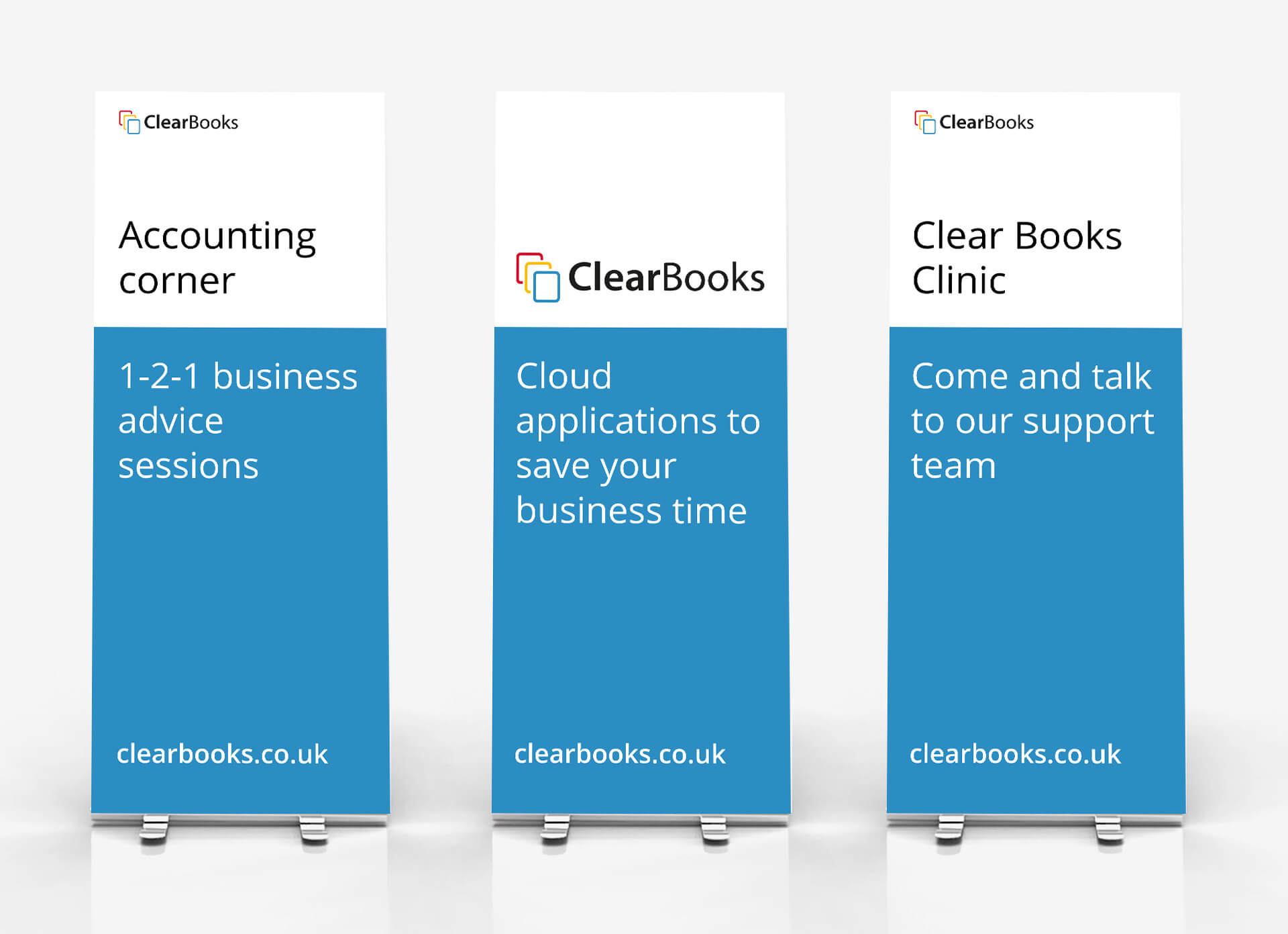 Clear Books exhibition banners