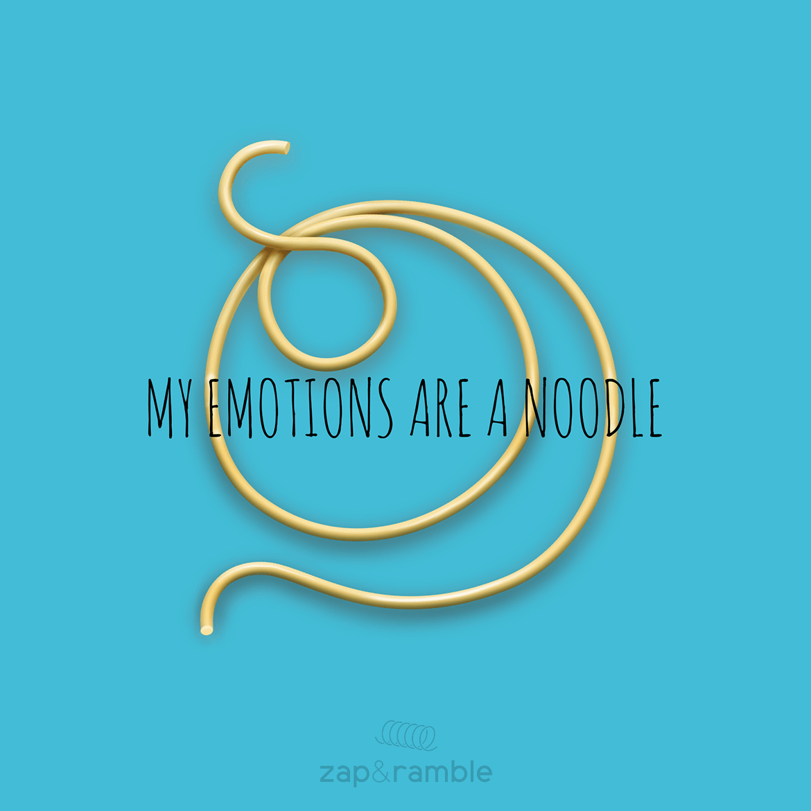 "illustration piece called ""my emotions are a noodle"" featuring an illustrated piece of spaghetti"