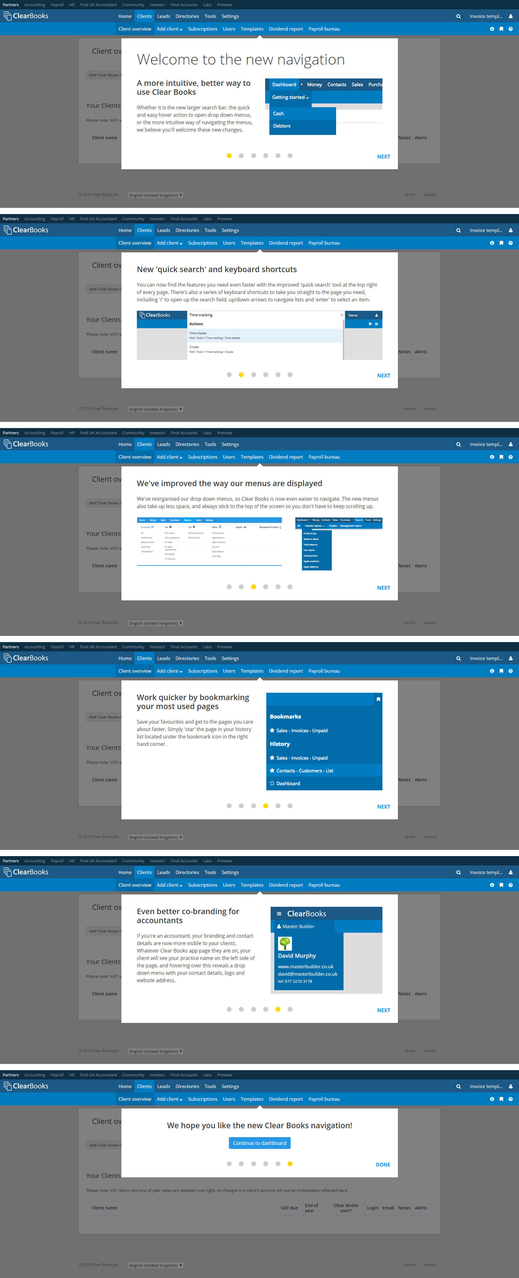 Clear Books nav launch