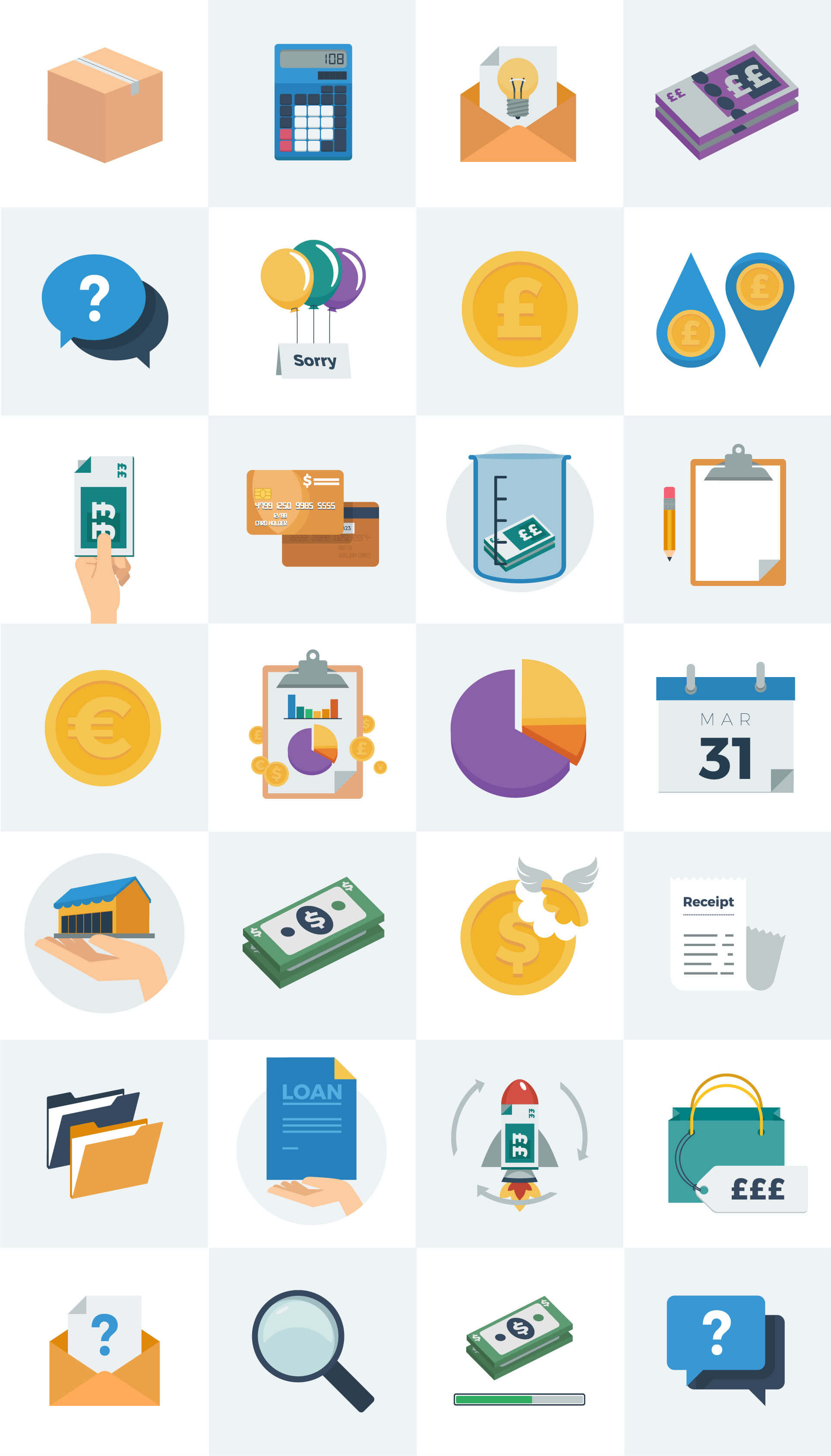 Business and finance themed illustrations