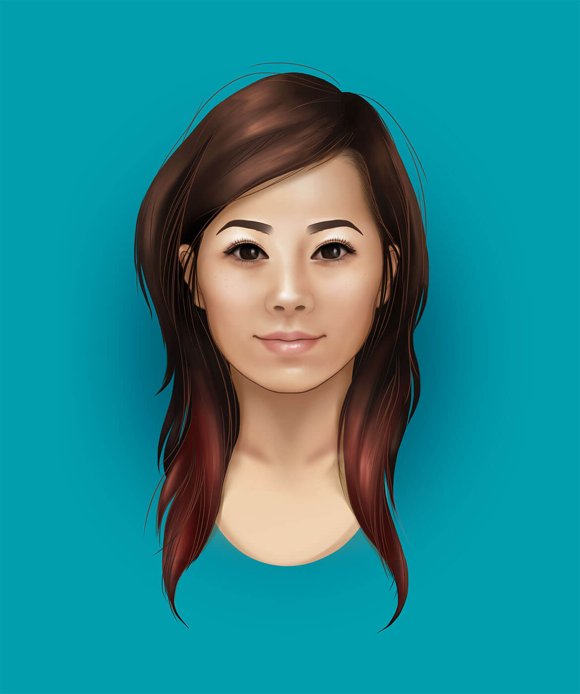 sheila shu self portrait drawn in Photoshop