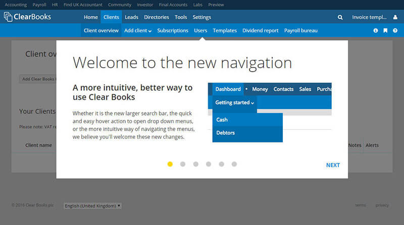 Clear Books new navigation modal