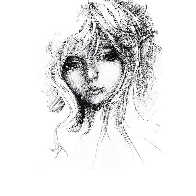 elf illustration made in pen