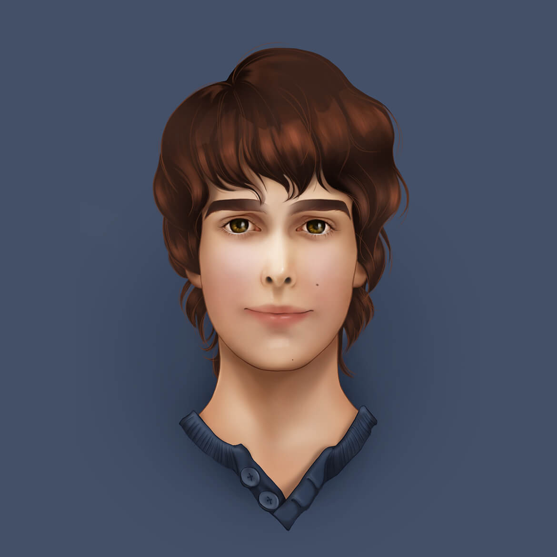 portrait of Patrick drawn in Photoshop
