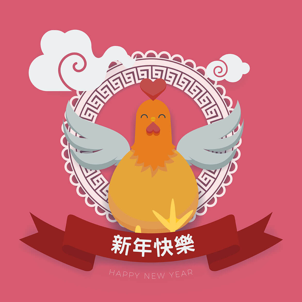square version of chinese new year themed banner featuring a rooster